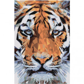 Морда тигра геометрика 80х120 Раскраска картина по номерам на холсте