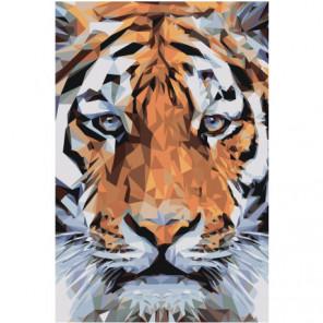 Морда тигра геометрика 100х150 Раскраска картина по номерам на холсте