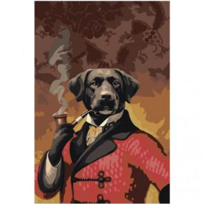 Портрет собаки с трубкой 100х150 Раскраска картина по номерам на холсте