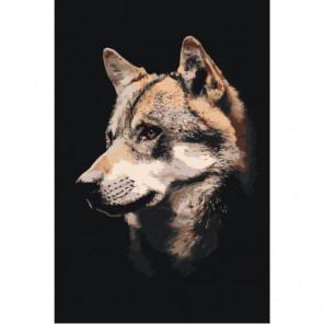 Морда волка 80х120 Раскраска картина по номерам на холсте