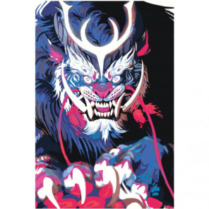 Синяя японская маска демона 80х120 Раскраска картина по номерам на холсте