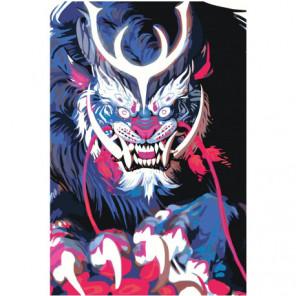 Синяя японская маска демона 100х150 Раскраска картина по номерам на холсте