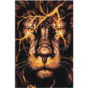 Огненный лев 100х150 Раскраска картина по номерам на холсте