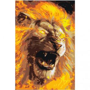 Рычащий огненный лев 80х120 Раскраска картина по номерам на холсте