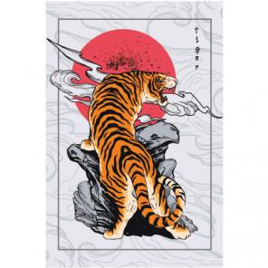 Тигр в японском стиле 80х120 Раскраска картина по номерам на холсте