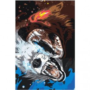 Волки Хати и Сколль 80х120 Раскраска картина по номерам на холсте