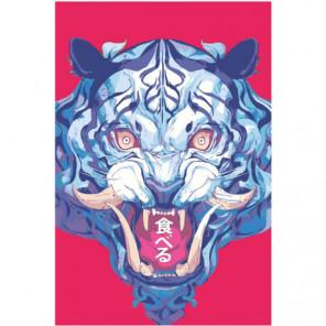 Синий тигр в азиатском стиле 100х150 Раскраска картина по номерам на холсте