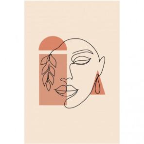 Лицо женщины абстракция 80х120 Раскраска картина по номерам на холсте