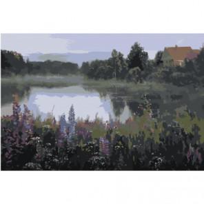 Домик у пруда 80х120 Раскраска картина по номерам на холсте