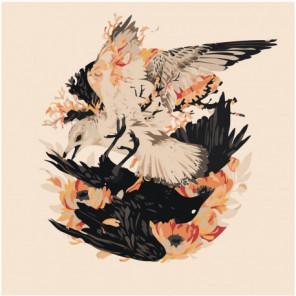 Черная и белая птица Раскраска картина по номерам на холсте