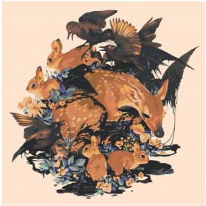Олененок, кролики и птицы 100х100 Раскраска картина по номерам на холсте