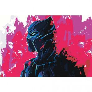 Черная пантера неон Раскраска картина по номерам на холсте