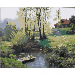 Деревенский пейзаж Раскраска картина по номерам на холсте