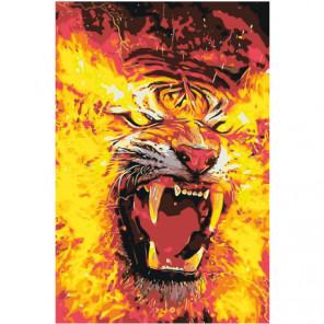 Огненный тигр Раскраска картина по номерам на холсте