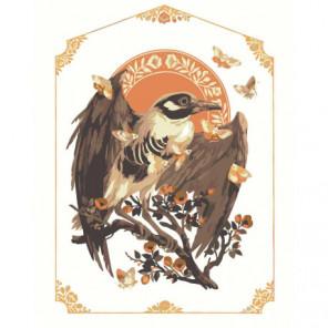 Птица и бабочки Раскраска картина по номерам на холсте