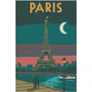 Париж под луной 80х120 Раскраска картина по номерам на холсте