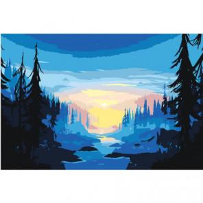 Река в тайге 100х150 Раскраска картина по номерам на холсте