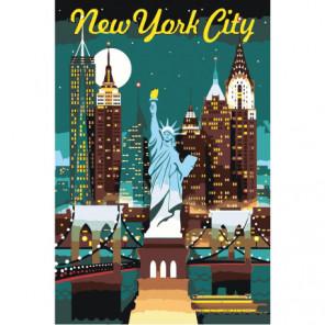 Небоскребы и Статуя Свободы в Нью-Йорке, США 80х120 Раскраска картина по номерам на холсте