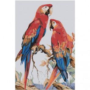 Пестрые попугаи 100х150 Раскраска картина по номерам на холсте