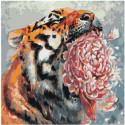 Тигр с цветком Раскраска картина по номерам на холсте
