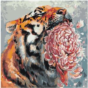 Тигр с цветком 100х100 Раскраска картина по номерам на холсте