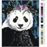 Панда с цветами Раскраска картина по номерам на холсте
