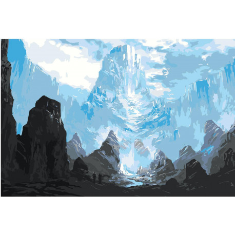 Горы фэнтези Раскраска картина по номерам на холсте
