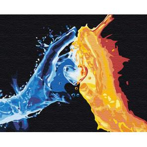Взаимное притяжение / Огонь и вода 100х125 см Раскраска картина по номерам на холсте с неоновыми красками AAAA-RS102-100x125