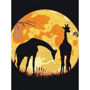 Пример в интерьере Жирафы и сияющая луна Раскраска картина по номерам на холсте с неоновыми красками AAAA-RS125