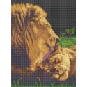 Забота льва Габардин с рисунком для вышивки бисером или крестом Каролинка