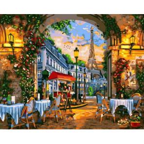 Кафе в Париже Раскраска картина по номерам на холсте GX38898