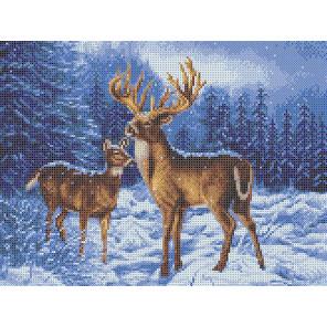 Олени в зимнем лесу Набор для вышивания Каролинка КТКН 169