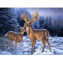 Олени в зимнем лесу Габардин с рисунком для вышивки бисером или крестом Каролинка