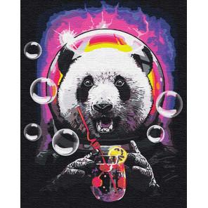 Панда в космосе с коктелем 80х100 см Раскраска картина по номерам на холсте с неоновыми красками AAAA-RS110-80x100