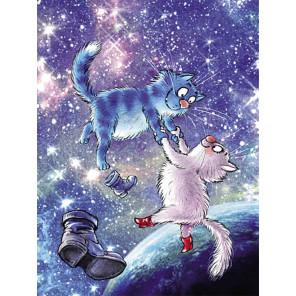 Коты в космосе Раскраска картина по номерам на холсте ME1131