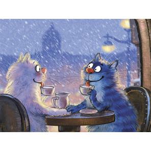 Коты на свидании Раскраска картина по номерам на холсте ME1132