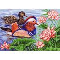 Мандариновые утки Канва с рисунком для вышивки Матренин посад