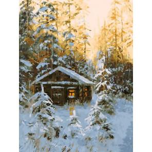 Охотничья избушка Раскраска картина по номерам на холсте Белоснежка 390-AS