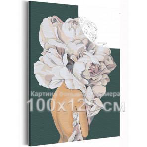 Девушка 100х125 см с цветком на голове на зеленом фоне Раскраска картина по номерам AAAA-RS111-100x125