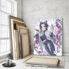 Пример в интерьере Шинобу Кочо. Аниме Истребители демонов 60х80 см Раскраска картина по номерам на холсте с неоновыми красками