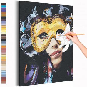 Девушка в карнавальной маске Раскраска картина по номерам на холсте с металлической краской AAAA-RS114