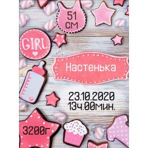 Метрика для девочки пряники Алмазная вышивка мозаика АЖ-1906