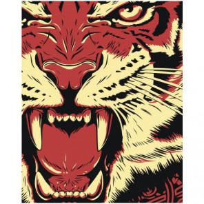 Рычащий тигр Раскраска картина по номерам на холсте