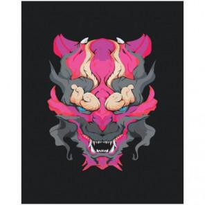 Японская маска демона 100х125 Раскраска картина по номерам на холсте