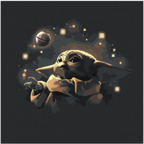 Малыш Йода в космосе 80х80 Раскраска картина по номерам на холсте
