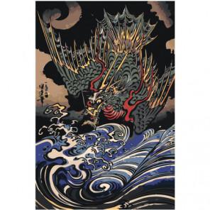 Дракон над волнами 100х150 Раскраска картина по номерам на холсте