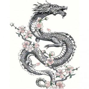 Дракон с цветами 80х100 Раскраска картина по номерам на холсте