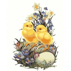 Цыплята с цветами 100х125 Раскраска картина по номерам на холсте