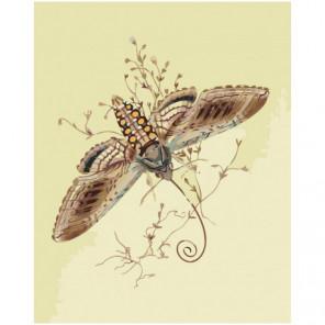 Коричневая бабочка 80х100 Раскраска картина по номерам на холсте
