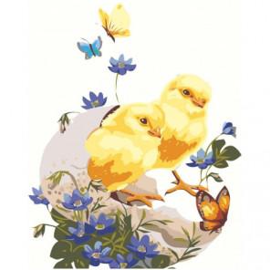 Цыпленок с цветами 100х125 Раскраска картина по номерам на холсте